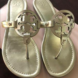 Tory Burch Shoes - EUC Tory Burch Logo metallic leather